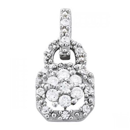 Harry Chad Enterprises HC12267 1 CT Round Diamonds Lock Style Pendant Without Chain - 14K White Gold - image 1 of 1