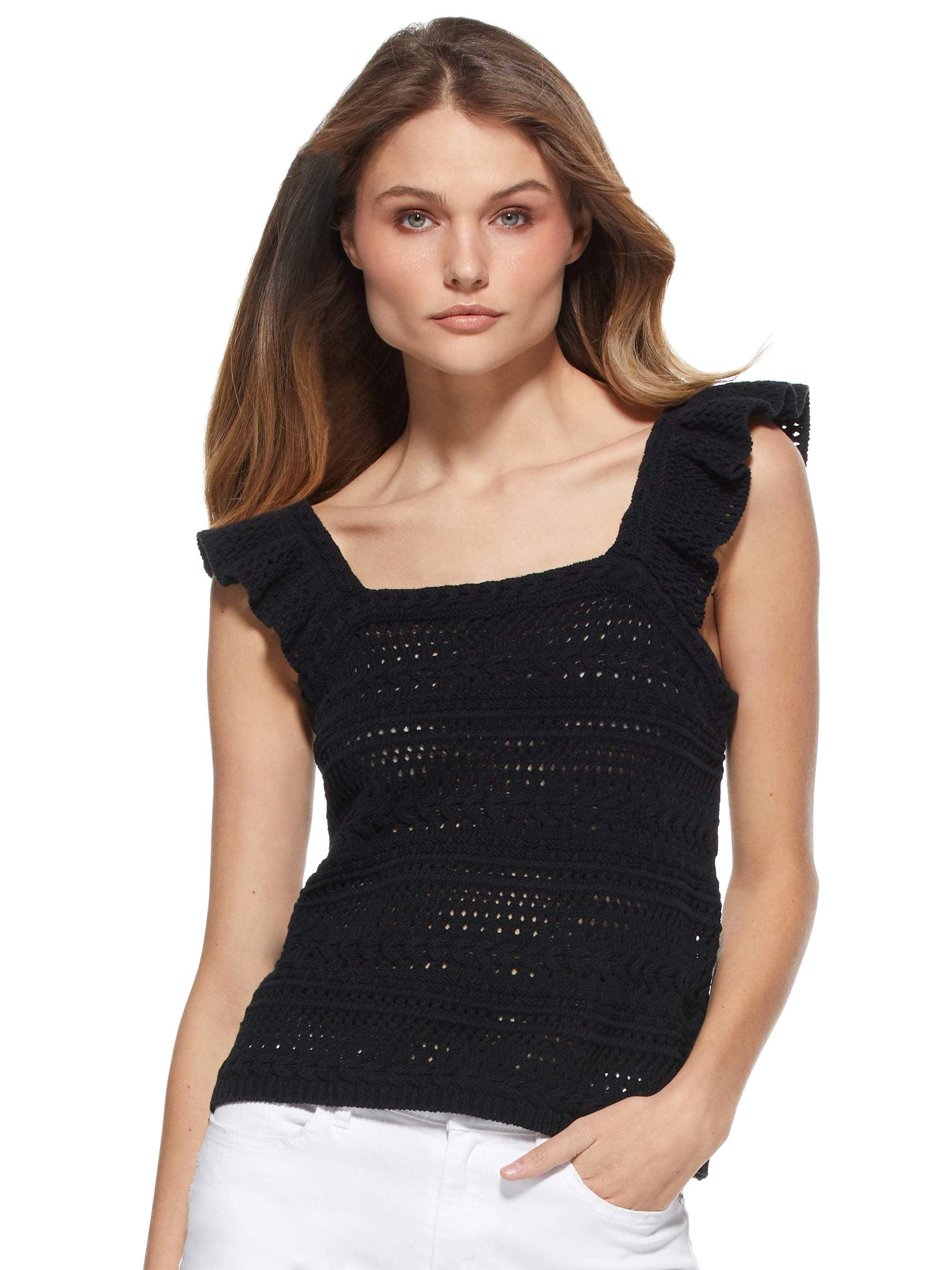 Scoop  Scoop Women's Crochet Flutter Sleeve Tank