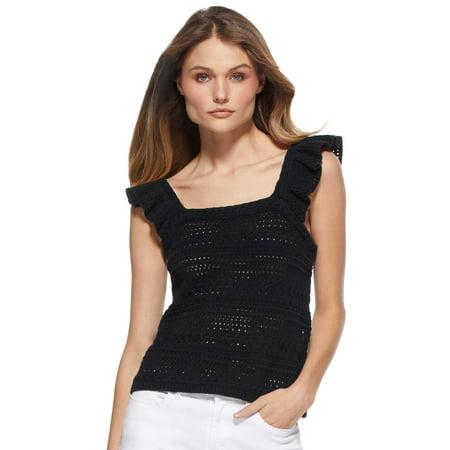 Scoop Women's Crochet Flutter Sleeve Tank