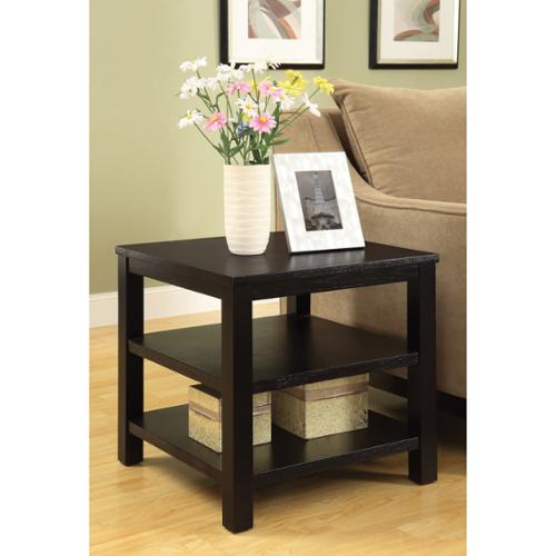 Square End Table w/ Solid Wood Legs & Three Wood Grain Finish Shelves Espresso Square End Table w/ Solid Wood Legs