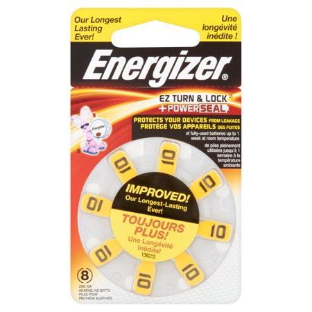 Energizer Ez Turn   Lock   Power Seal Zinc Air Hearing Aid Batteries  1 4V  Mercury Free  Size 10  Pack Of 8