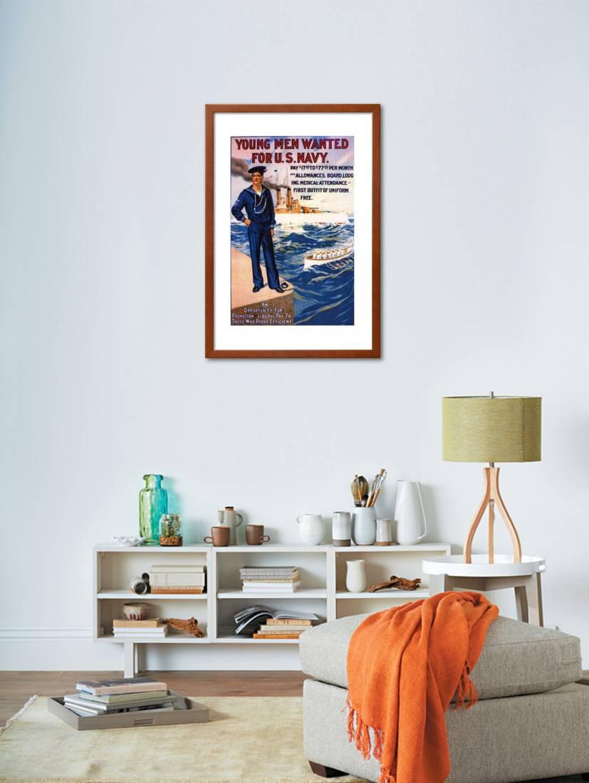 US Navy Vintage Poster - Young Men Wanted Framed Print Wall Art By ...