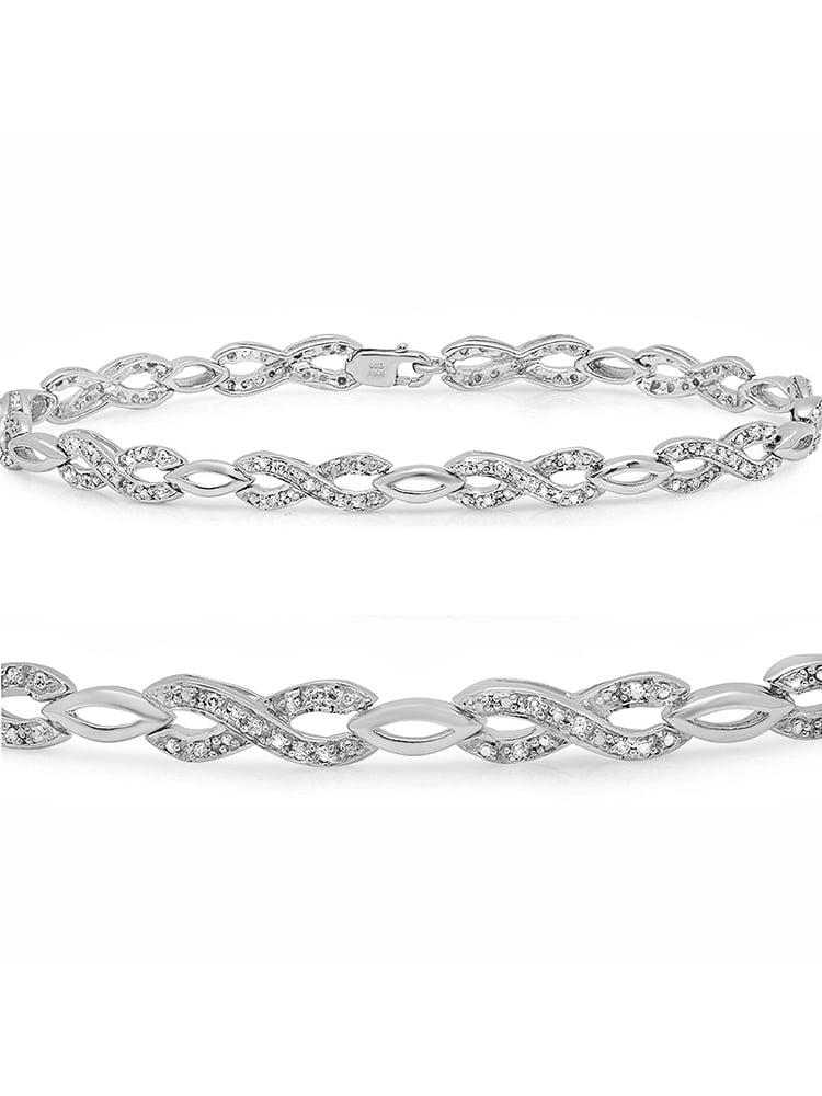 1/4ct  Infinity Diamond Tennis Bracelet in Sterling Silver  7 inch