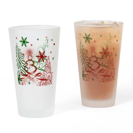 Christmas Drinking Glasses (CafePress - Abstract Green And Red Christmas Tr - Pint Glass, Drinking Glass, 16 oz.)