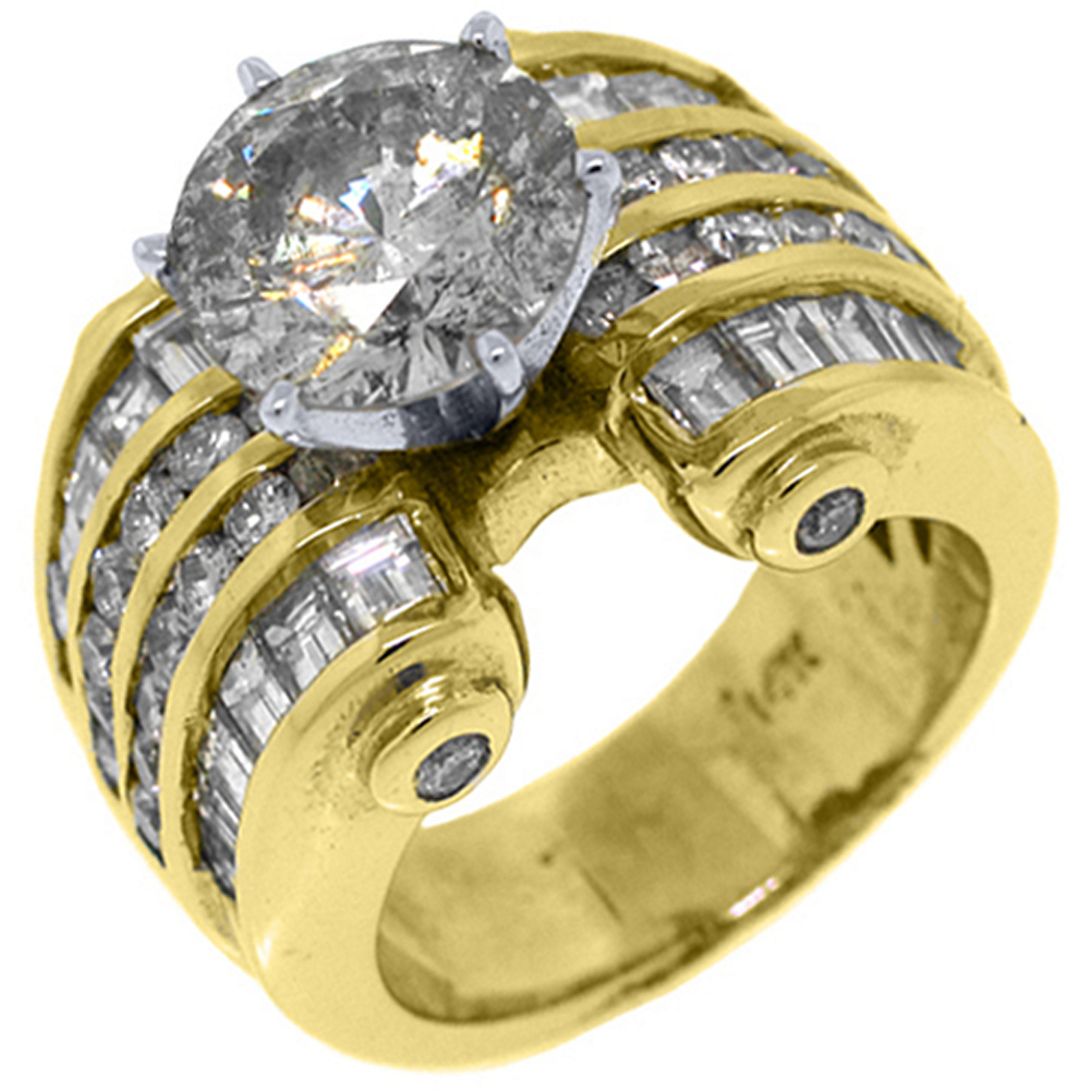14k Yellow Gold 6.74 Carats Round & Baguette Cut Diamond Engagement Ring