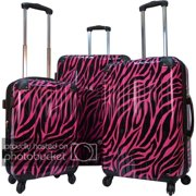 Karriage-Mate  Polycarbonate 3-piece Hardside Spinner Luggage Set- Burgundy Zebra