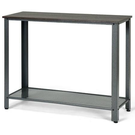 Costway Console Sofa Table W/ Storage Shelf Metal Frame Wood Look Entryway Table SilverBlack ()