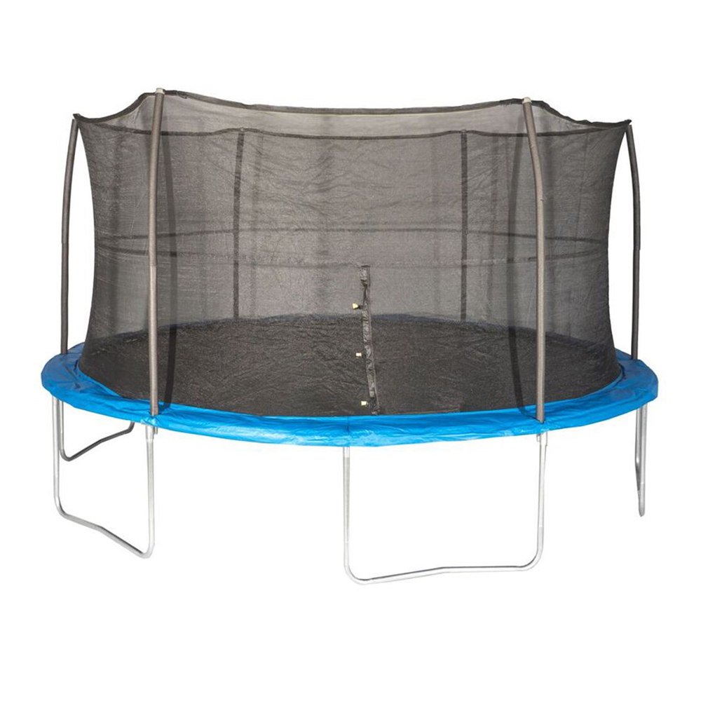 JumpKing 15 Foot Outdoor Trampoline & Safety Net Enclosure Kit, Blue | JK15VC2