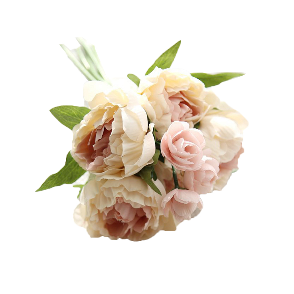 Fake Flowers Artificial Peony Silk Flowers 8 Heads Bouquet Home Wedding Party Decoration Table Decor