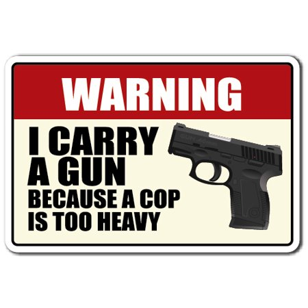 """WARNING, I CARRY A GUN Decal ammo warning protection   Indoor/Outdoor   5"""" Tall"""