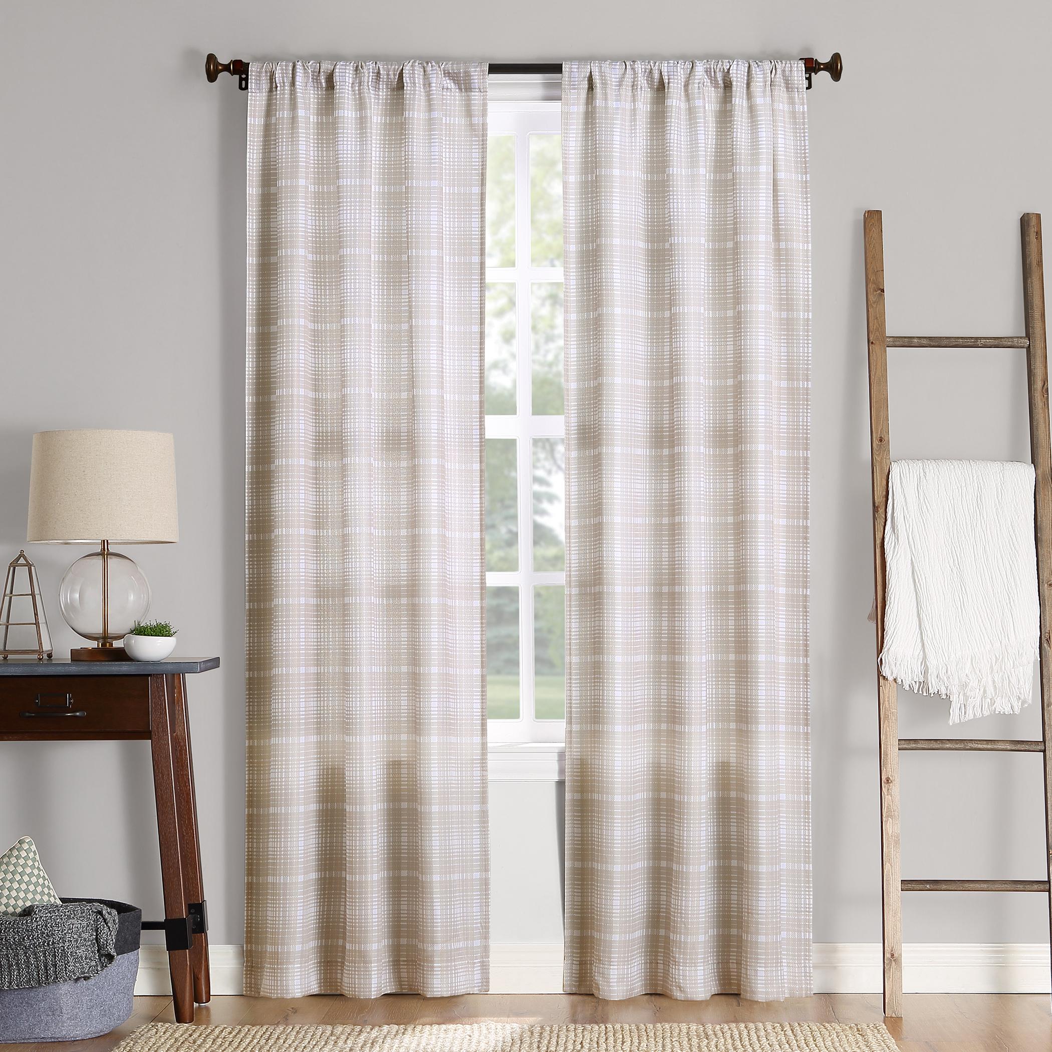 No. 918 Sebastian Plaid Semi-Sheer Rod Pocket Curtain Panel