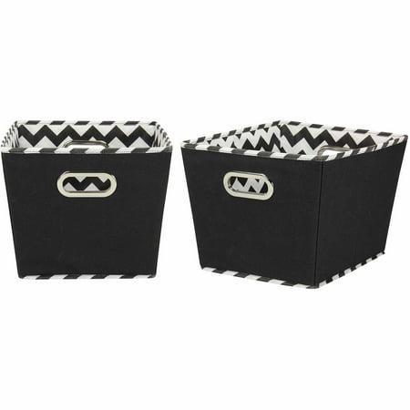 Household Essentials Decorative Storage Bins, 2pk, Black and Chevron Medium](Decorative Storage Containers)