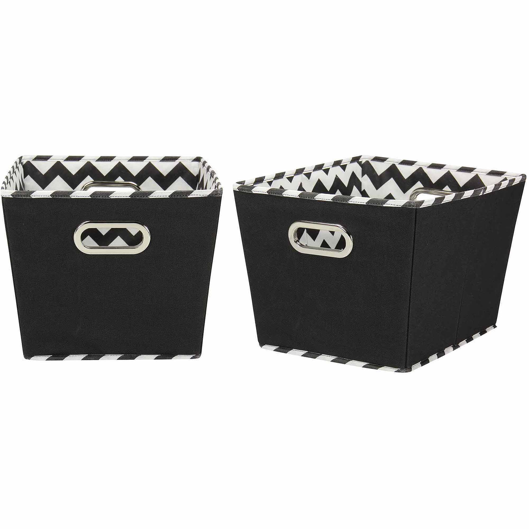 Household Essentials Decorative Storage Bins, 2pk, Black and Chevron Medium