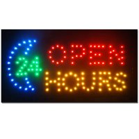 2xhome - Open 24 Hours - High Visible Led Flashing Animated Sign Colors Neon Business Motion Light Sign Chain 19x10 for Business Food Restaurant Diner Cafe Bar Coffee Shop Store Wall Window Display