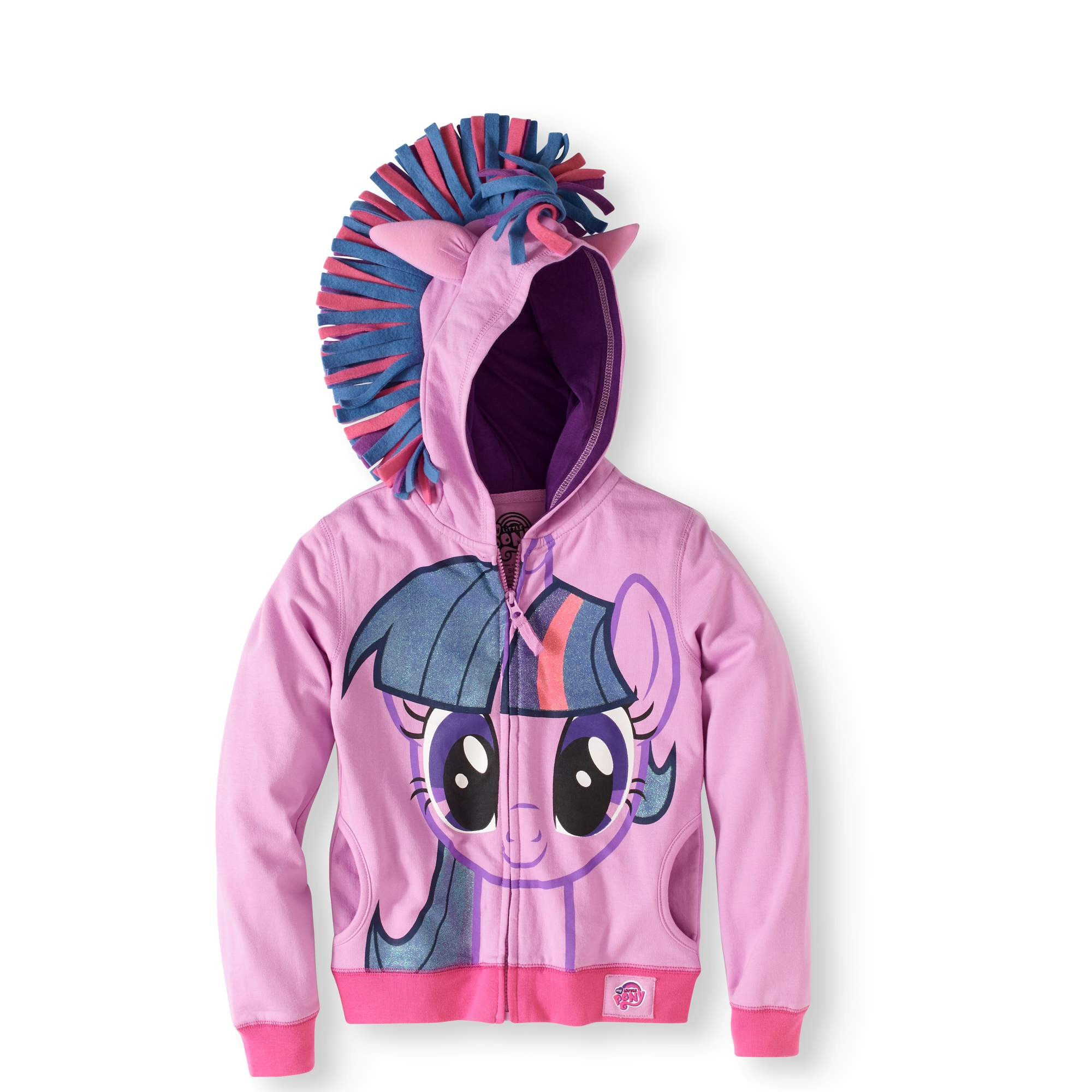 Girls' Twilight Sparkle Fleece Graphic Costume Hoodie With 3D Wings on Back
