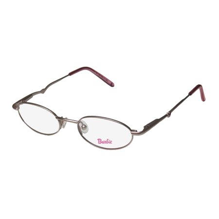 New Barbie 304 Childrens/Kids/Girls Oval Full-Rim Silver / Rose Casual Popular Shape Hip For Girls Frame Demo Lenses 44-17-125 Flexible Hinges Eyeglasses/Eye (Eyeglasses For Oval Face Shape)