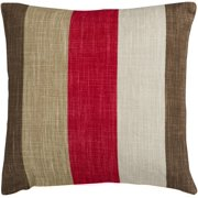 """18"""" Red and Brown Thick Striped Decorative Throw Pillow - Down Filler"""
