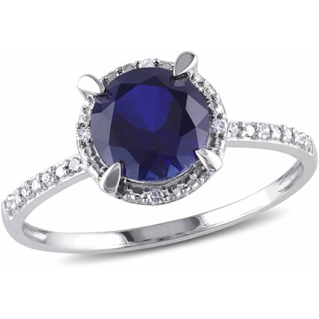 (1-5/8 Carat T.G.W. Created Blue Sapphire and Diamond Accent 10kt White Gold Halo Engagement Ring)