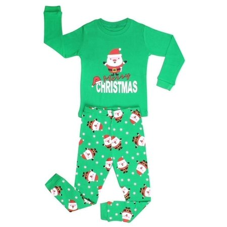 Elowel Big Boys Green Santa Print Christmas Long Sleeve 2 Pc Pajama Set - Glow In The Dark Pajamas