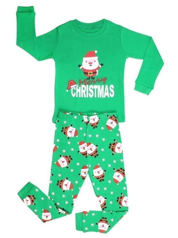 Elowel Big Boys Green Santa Print Christmas Long Sleeve 2 Pc Pajama Set