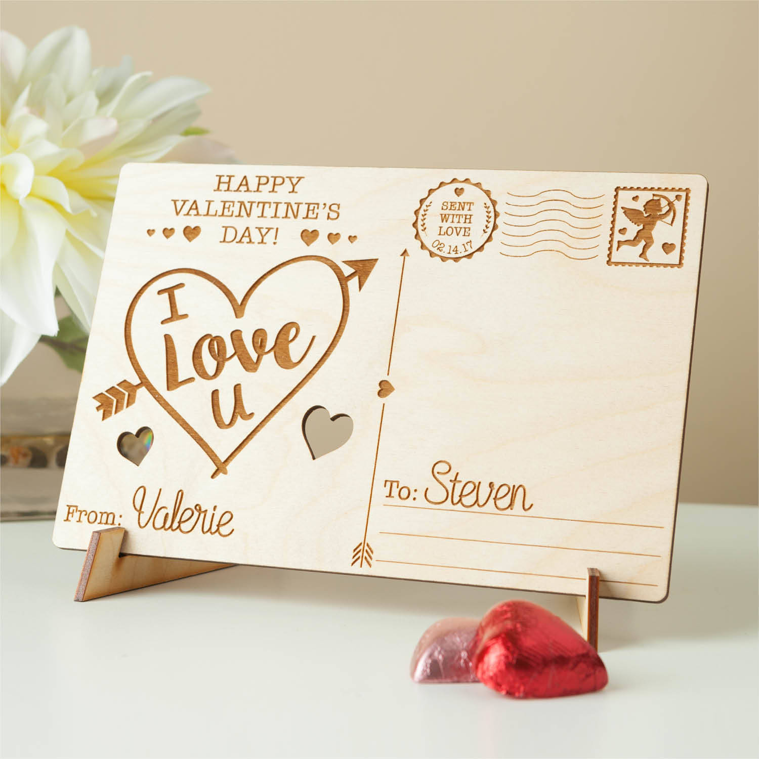 Happy Valentine's Day Personalized Wood Postcard, I Love You