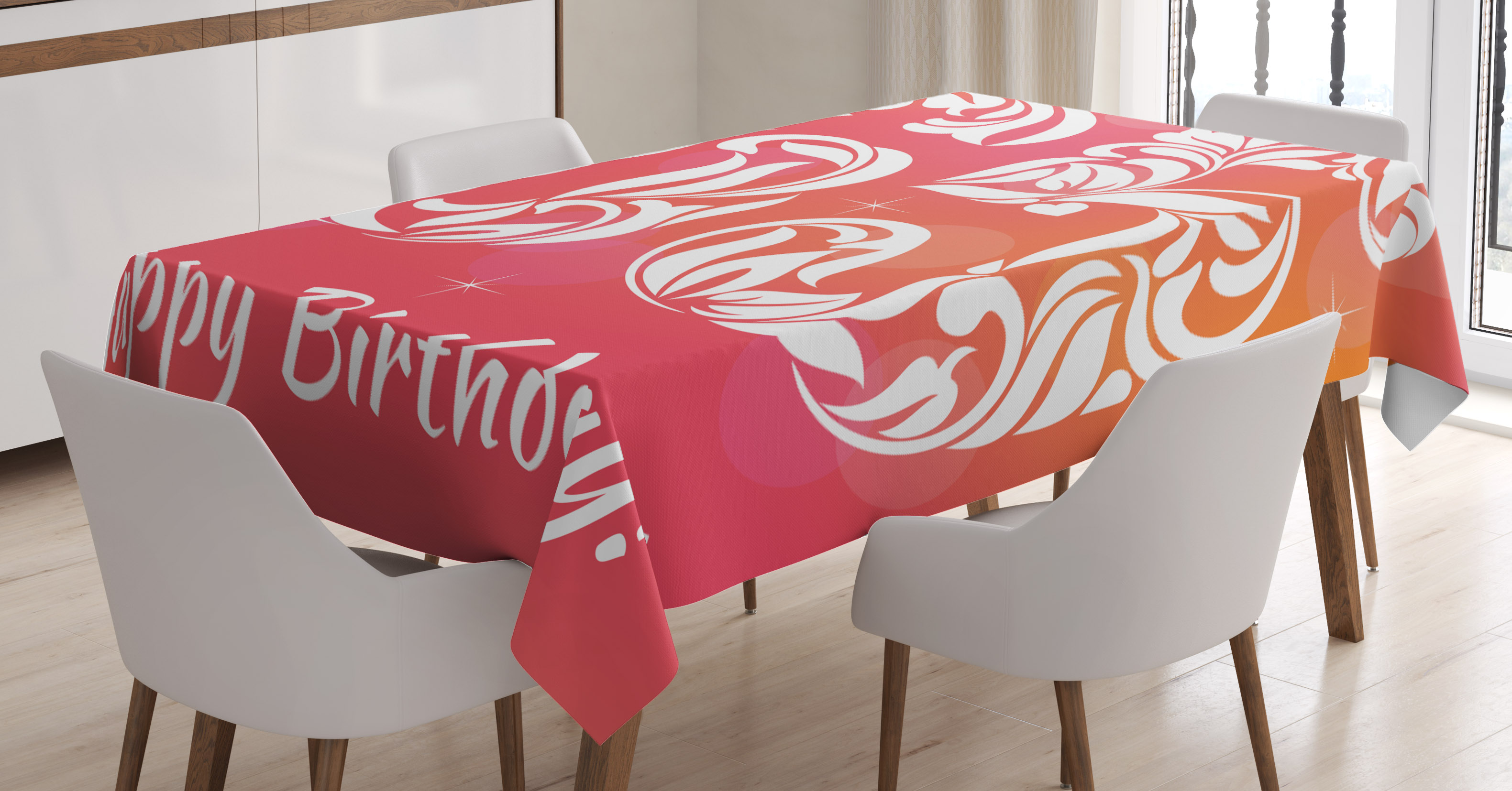 65th Birthday Decorations Tablecloth Greeting Card Inspired Design With Decorative Font Swirls Rectangular Table Cover For