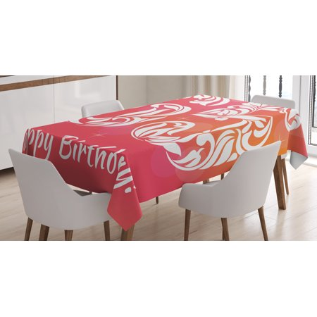 65th Birthday Decorations Tablecloth Greeting Card Inspired Design With Decorative Font Swirls Rectangular Table