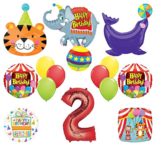 Mayflower Products Circus Theme Big Top 2nd Birthday Party Supplies and Balloon Bouquet Decorations Elephant, Tiger and Seal (Circus Theme)
