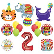 Mayflower Products Circus Theme Big Top 2nd Birthday Party Supplies and Balloon Bouquet Decorations Elephant, Tiger and Seal