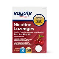 Equate Nicotine Polacrilex Lozenge, 2 mg, Stop Smoking Aid, Cherry Flavor, 108 Count