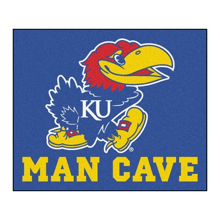 Kansas Jayhawks Mat - NCAA University of Kansas Jayhawks Man Cave Tailgater Rectangular Mat Area Rug