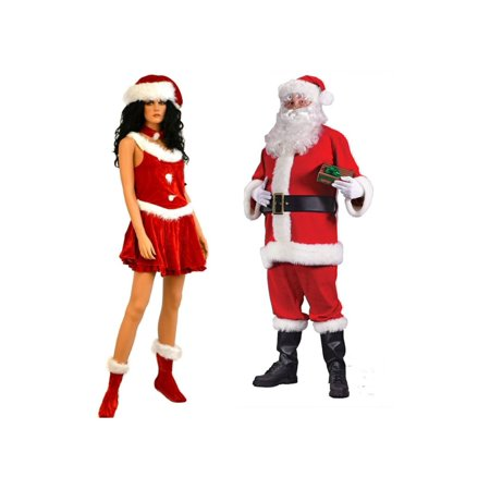 Christmas Santa Suit Men Costume and Santa Secret Women Couples Set