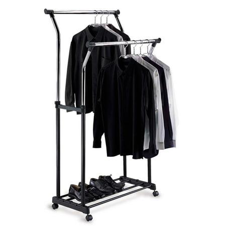 Organize It All Double Adjustable Garment Rack - Black/Chrome