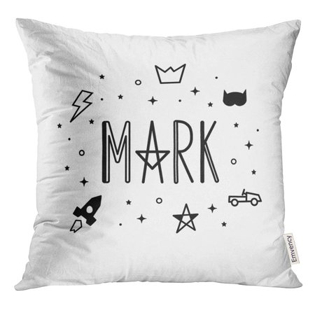 ARHOME First Name Mark Black and White Color Cute for Boy with Lightning Stars Crown Car Rocket Announcement Pillow Case 18x18 Inches - Crowns For Boys