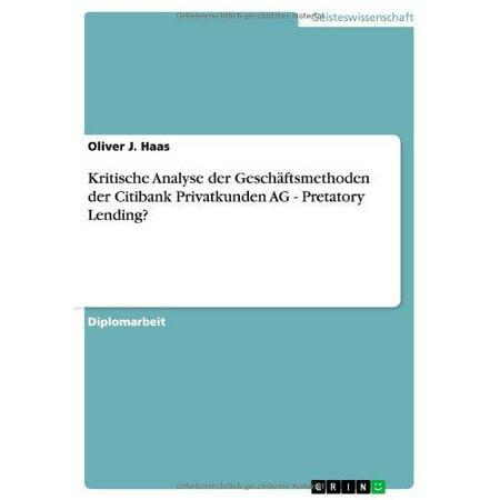 Kritische Analyse Der Geschaftsmethoden Der Citibank Privatkunden Ag   Pretatory Lending