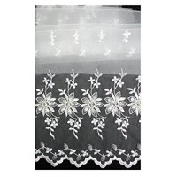 """Altotux White 100% Organza Both Sides Embroidered Lace Fabric 52""""-53"""""""