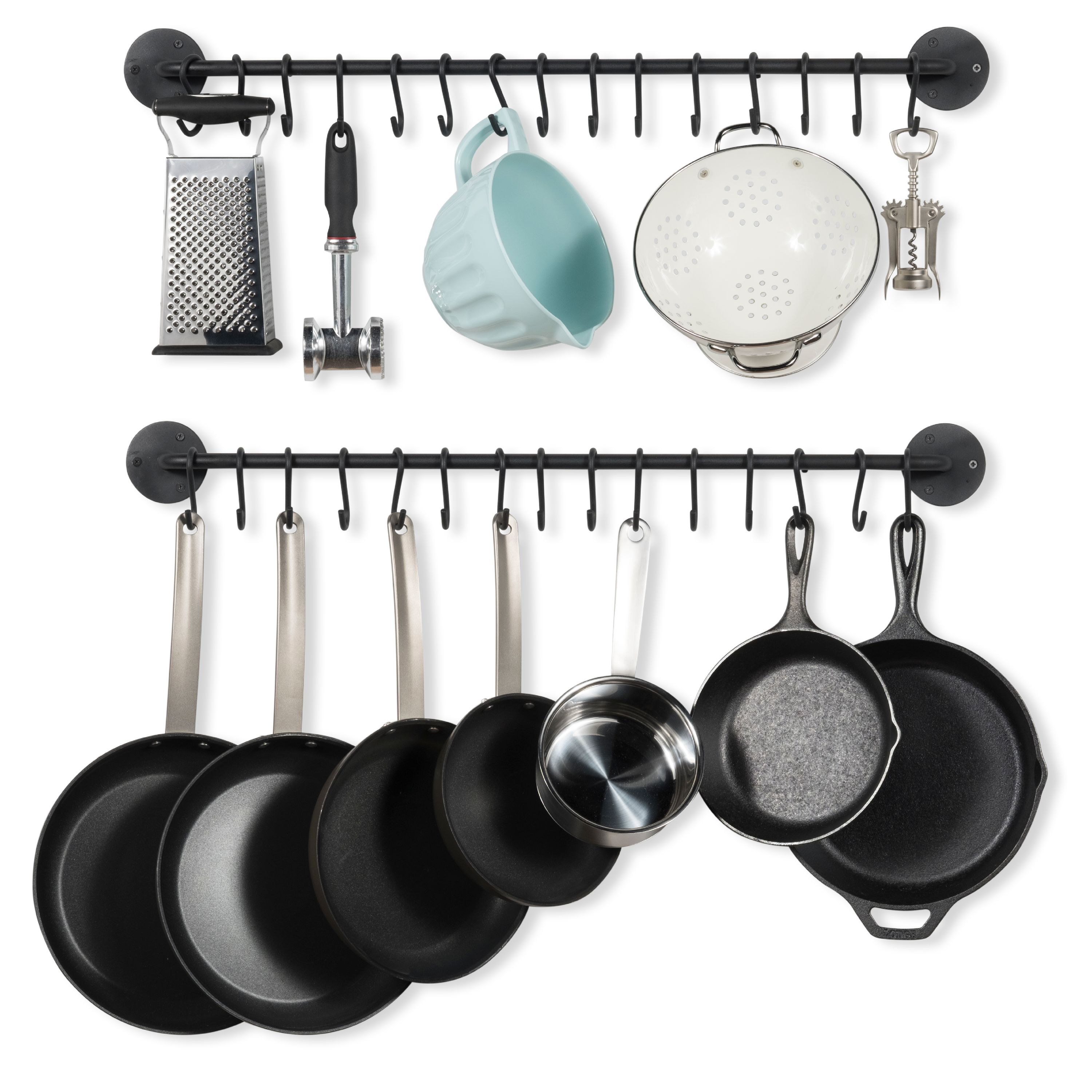 Wall Mount Heavy-Duty Iron 33 Inch Hanging Utensil Pot Pan Lid Organizer Rod with 10 S-Hooks by Wallniture Set of 2 Black