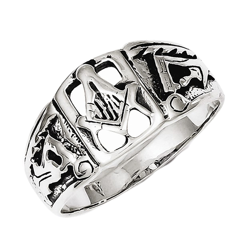 Mens 925 Sterling Silver Masonic Order Signet Ring