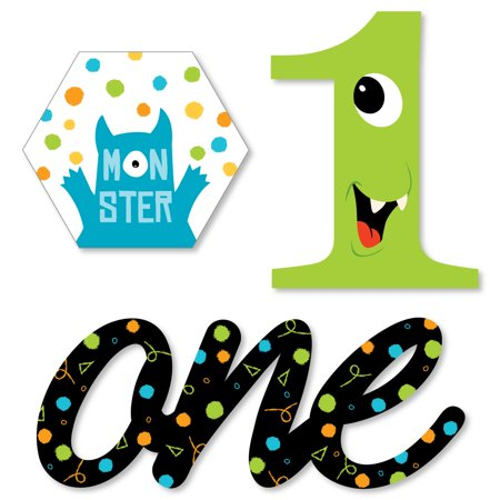 1st Birthday Monster Bash - DIY Shaped Little Monster First Birthday Party Cut-Outs - 24 Count](Little Mermaid 1st Birthday Party)