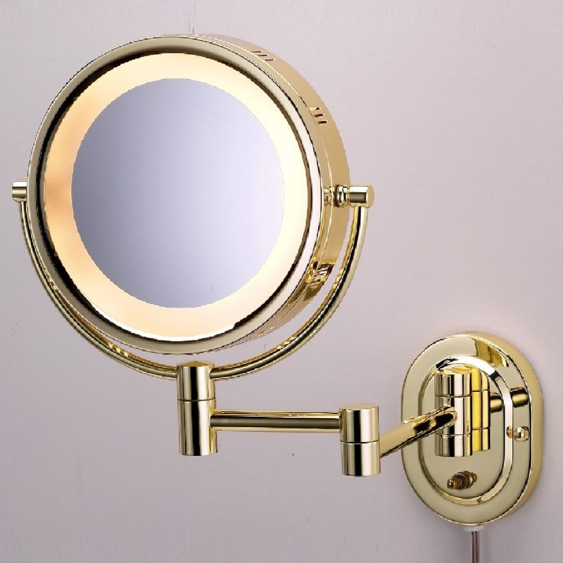 See All 8 in. Round Lighted Wall Mounted 5X Magnification Make Up Mirror in Brass