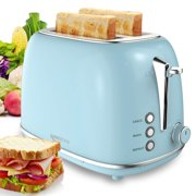Toasters 2 slice wide slot,Compact Bread Toasters With 6 Browning Settings & Stainless Steel Housing ,Toasts Defrost Bagel Reheat Cancel Button Removable Crumb Tray, Blue