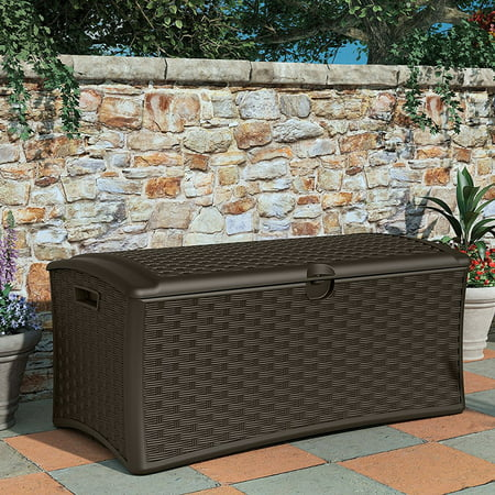 Suncast 72 Gallon Capacity Resin Wicker Outdoor Patio Storage Deck Box 4 Pack