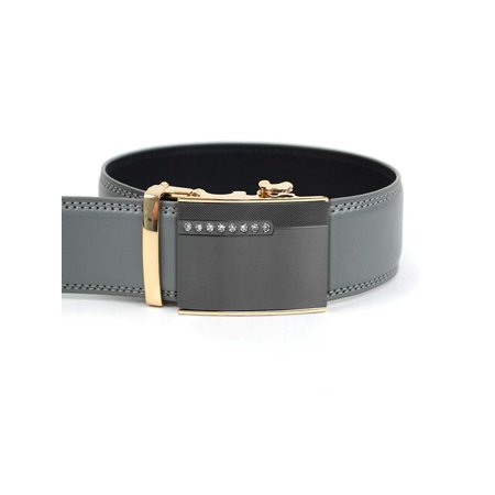 Men?s Leather Ratchet Belt, Golden Perimeter Jeweled Automatic Buckle (MGLBB38) (Jeweled Belt)