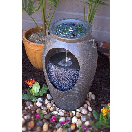 Double Fountain - Outdoor electric LED Lighted Stone Finish Double Urn Fountain- Dark Grey (COLORED STONES NOT INCLUDED)