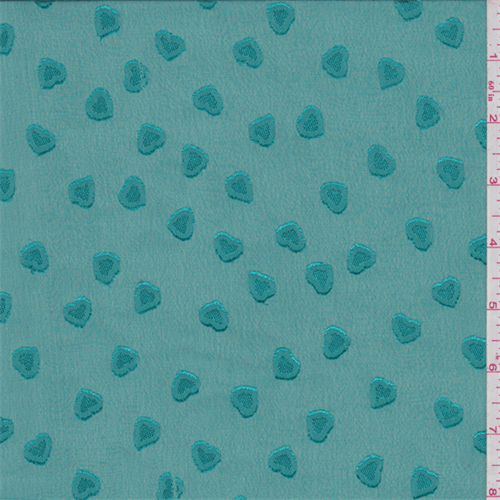 Teal Green Heart Embroidered Chiffon, Fabric By the Yard