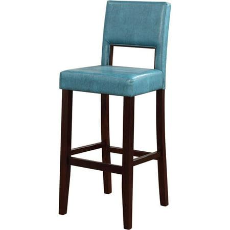 1950s Style Bar Stool - Linon Vega Bar Stool, Aegean Blue, 30 inch Seat Height