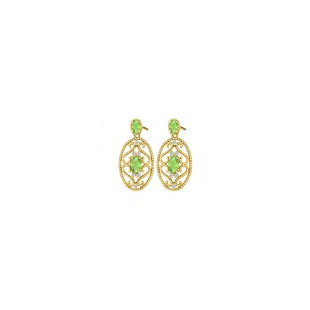 Fancy Oval Peridot and Round Cubic Zirconia in 18K Yellow Gold Vermeil - image 2 de 2