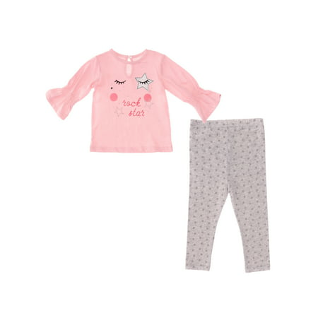 Vitamins Kids Baby Girl Graphic Bell Sleeve Top & Jersey Leggings, 2-pc Outfit Set (Jersey Outlets)