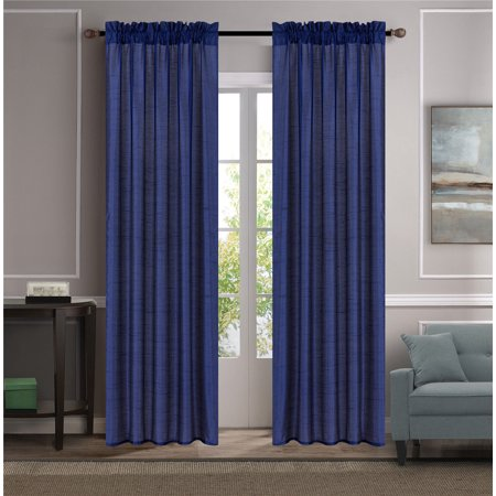 Each Silk Curtain (MR2 NAVY 2-PC SET MYRA Rod Pocket Faux Silk Window Curtain Treatment, Set of Two (2) Solid Semi Sheer Panels 55