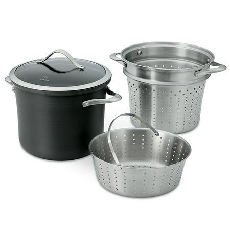 Calphalon Pasta Insert - Calphalon Contemporary Hard-Anodized Aluminum Nonstick Cookware, Pasta Pot with Steamer Insert, 8-quart, Black